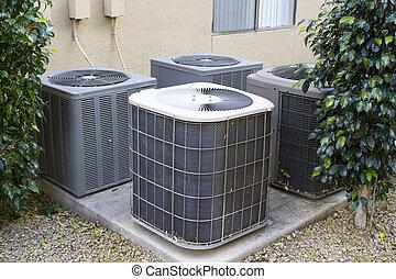 acondicionador, aire, compresores