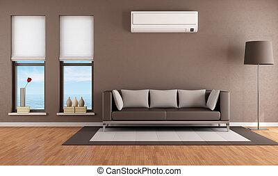 acondicionador, aire, habitación, vida