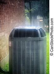 acondicionador, aire, lluvia, debajo