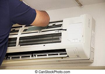 acondicionador, aire, técnicos, reparación