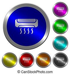 acondicionador de aire, luminoso, coin-like, redondo, color, botones