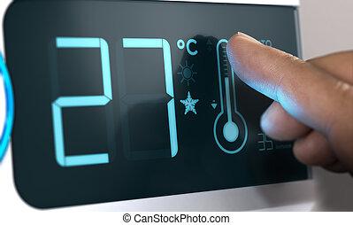 acondicionador de aire, temperatura, control, grado,...