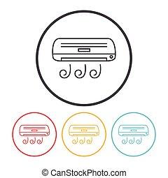 acondicionador, línea, aire, icono