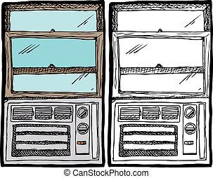 acondicionador, ventana, unidad, aire