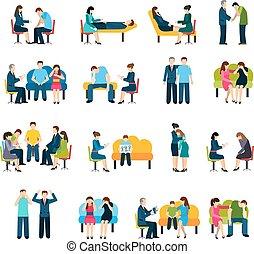 aconselhar, grupo apoio, apartamento, ícones, jogo