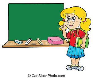 aconselhar, menina, escola, quadro-negro