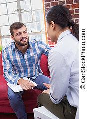 aconselhar, seu, terapeuta, paciente, escutar
