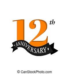 acontecimiento, 12, señal, doce, blanco, años, celebración,...