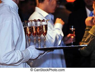 acontecimiento, fiesta, coctail, banquete, abastecimiento