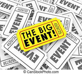 acontecimiento grande, dorado amarillo, boleto, especial, admisión, acceso