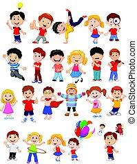 acoplado, diferente, crianças, expressão