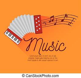 acordeão, festival, notas, música, desenho, ícone