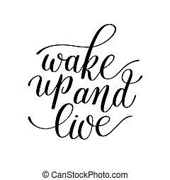 acorde-se, e, viver, motivational, citação, manuscrito,...