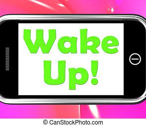 acorde-se, telefone, meios, acordado, e, levantar