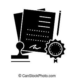 acordo, contrato, ícone, vetorial, ilustração, sinal, ligado, isolado, fundo