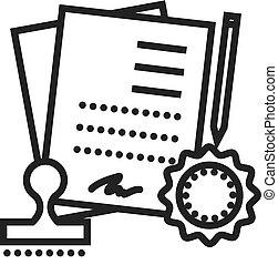 acordo, contrato, vetorial, linha, ícone, sinal, ilustração, experiência, editable, golpes