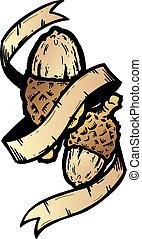 Acorn banner tattoo style vector illustration
