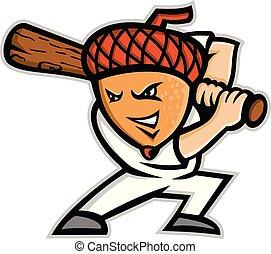 acorn-baseball-batting-MASCOT - Mascot icon illustration of...
