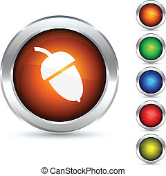 Acorn button. - Acorn detailed button. Vector illustration.