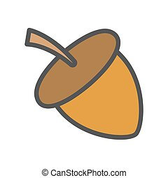 Acorn Cartoon Flat Vector Icon