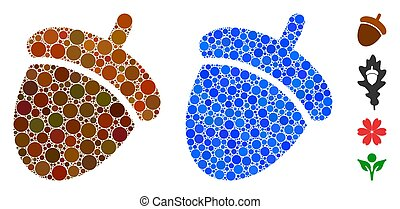 Acorn Composition Icon of Spheric Items - Acorn composition ...