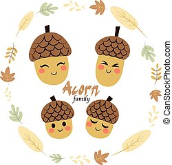 Acorn Family Characters - Four cute acorn family characters...