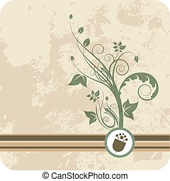 Acorn growth of green floral - Layered vector illustration ...