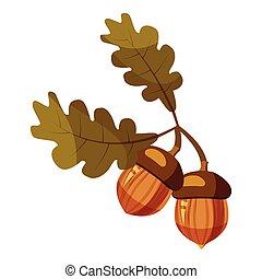 Acorn icon, cartoon style