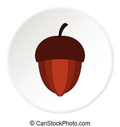 Acorn icon, flat style