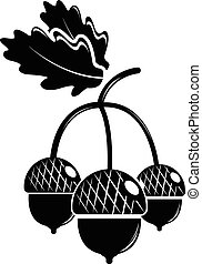 Acorn icon, simple black style