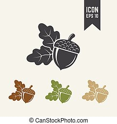 Acorn isolated vector icon, dried fruit icon