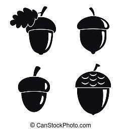 Acorn leaf icons set, simple style