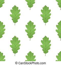 Acorn leaf seamless pattern, oak nut . Cartoon flat style. Vector illustration