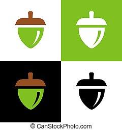 Acorn logo concept, oak seed icon, nut symbol, vector illustration design