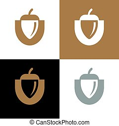 Acorn logo design, oak seeds icon - Vector