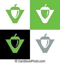 Acorn logo template, oak seed icon, nut illustration design - Vector