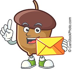 acorn mascot with bring envelope on white background.