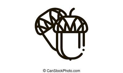 acorn nut Icon Animation. black acorn nut animated icon on white background
