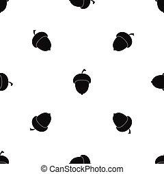 Acorn pattern seamless black