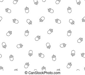 Acorn seamless pattern in doodle style.Hand drawn.