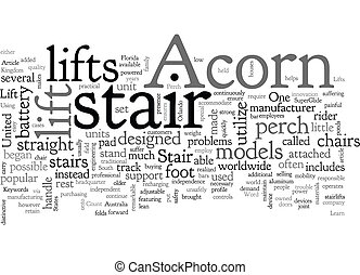 Acorn Stair Lifts text background wordcloud concept