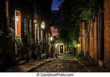 Acorn Street at night, in Beacon Hill, Boston, Massachusetts.