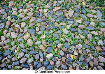 Acorn street Beacon Hill cobblestone soil detail Boston in Massachusetts USA