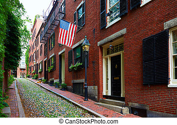 Acorn street Beacon Hill cobblestone Boston in Massachusetts...