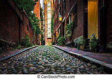 Acorn Street, in Beacon Hill, Boston, Massachusetts.