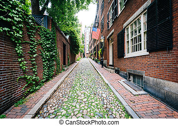 Acorn Street, in Beacon Hill, Boston, Massachusetts.