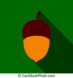 Acorn vector icon in flat style for web