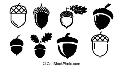 acorn vector icons isolated on white background