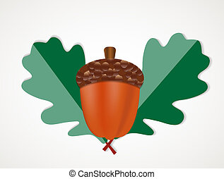 Acorn with Leaves Vector Autumn Illustration