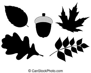 Acorn with Leaves Vector Silhouette Illustration